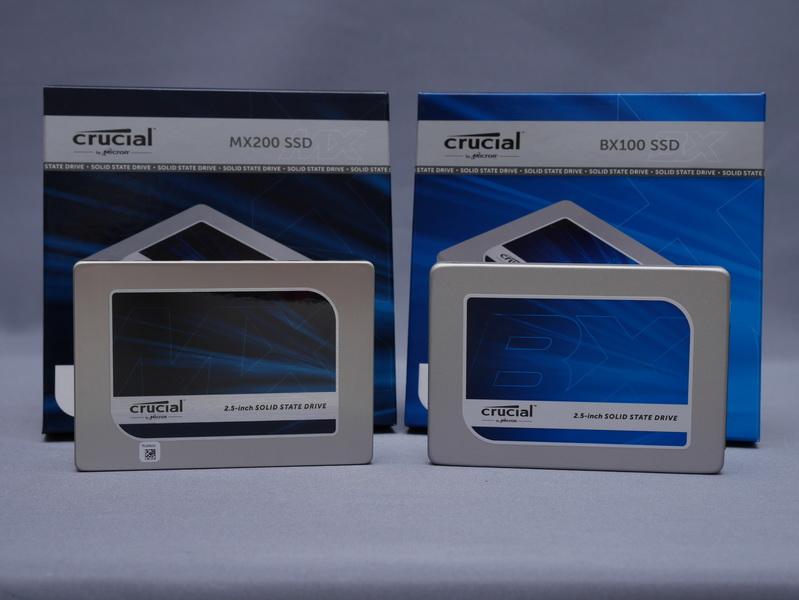 マイクロンジャパン 「Crucial MX200」(左)と「Crucial BX100」(右)