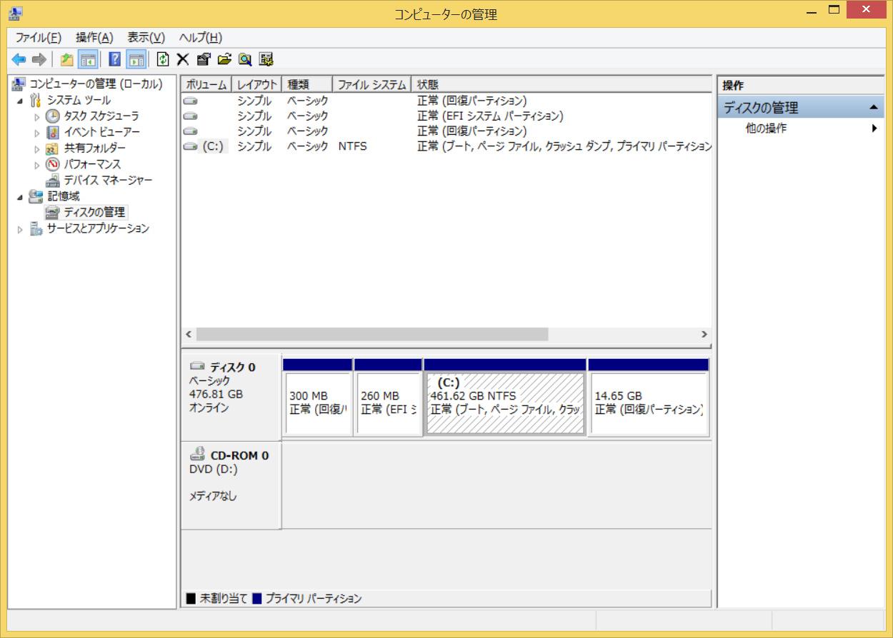実質1パーティションで、Cドライブには461.62GBが割当てられている