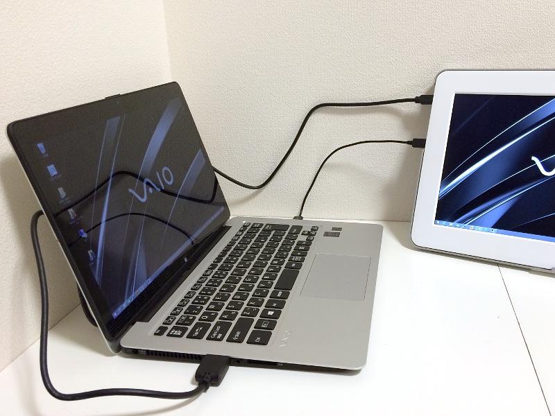 今回のVAIO ZのようにHDMI端子を持つPCとは添付のケーブル1本で接続が可能。Mini DisplayPortおよびミニD-Sub15ピンでの接続には変換アダプタが必要