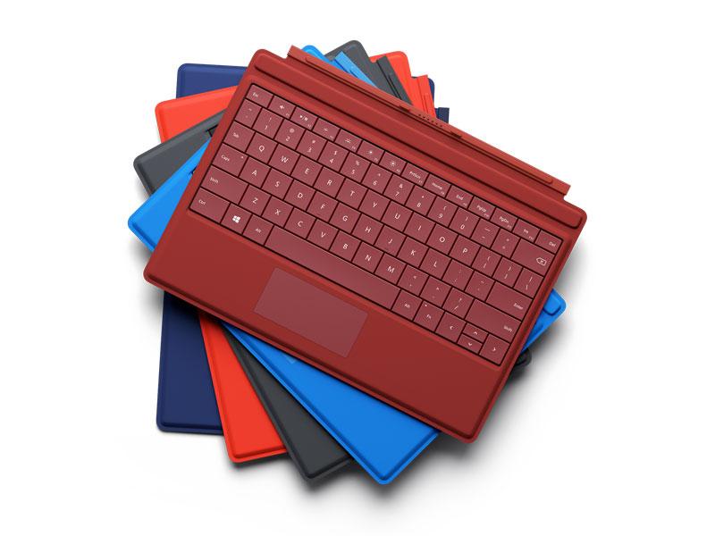 オプションで用意されるタイプカバーキーボード。6色のカラーバリエーションが用意されている