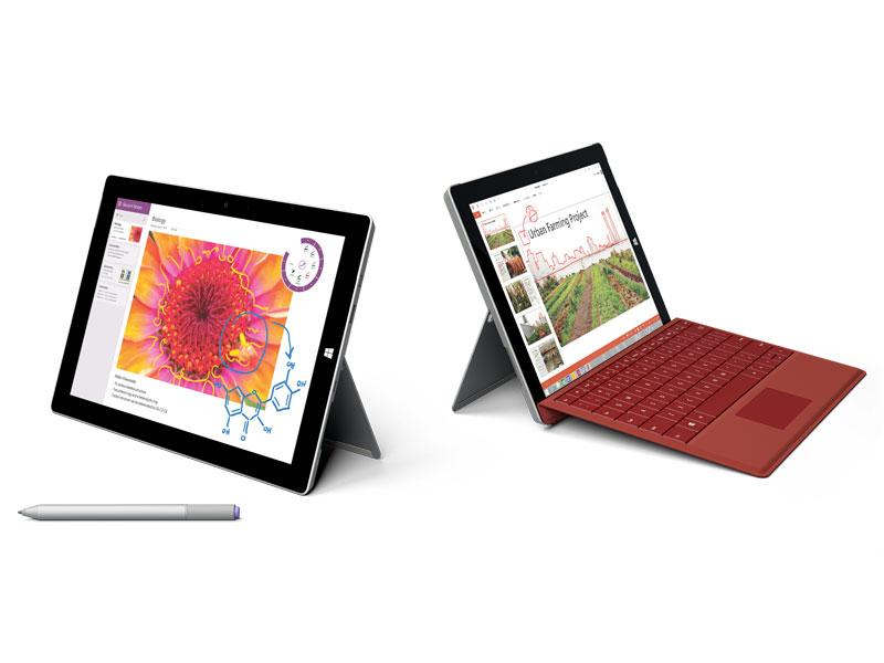 このように、タブレットとしても、クラムシェル型PCとしても使えることがSurface 3特色。Surface Pro 3に比べて180g弱軽くなっていることで、よりタブレットらしく利用することができる