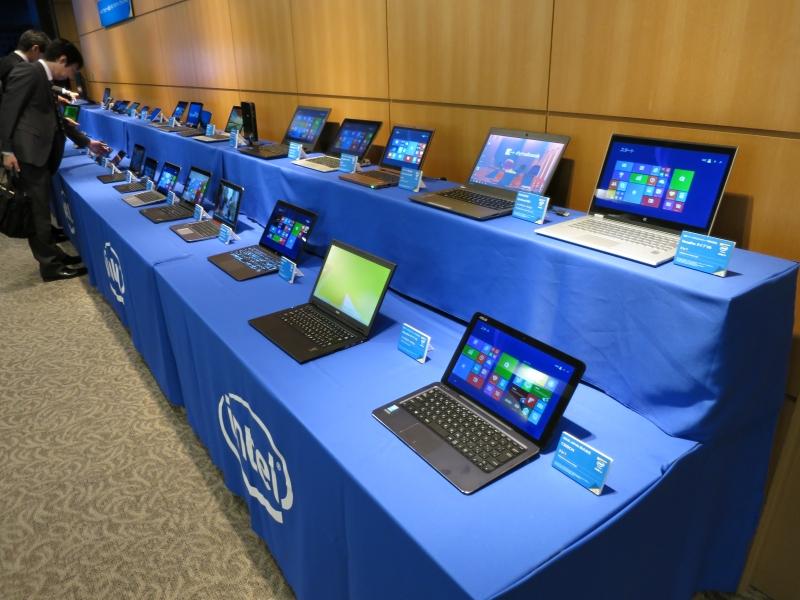 発表会場では第5世代Coreプロセッサ搭載製品が一斉展示された