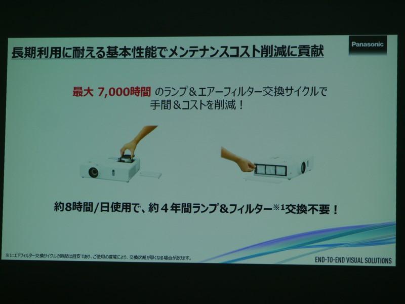 ランプ、フィルターともに7,000時間という寿命を実現している