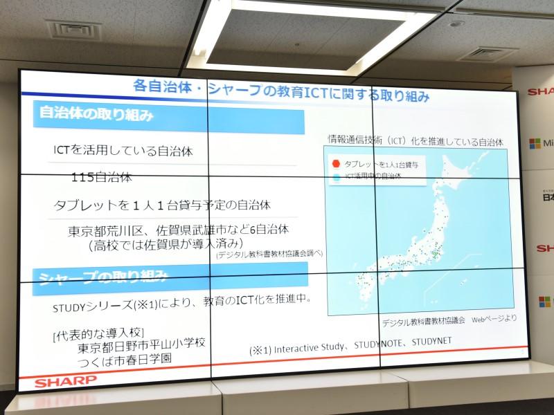 全国の各自治体でもICTの活用を進めている。シャープとしてはすでに東京都日野市の平山小学校などでSTUDYシリーズを投入