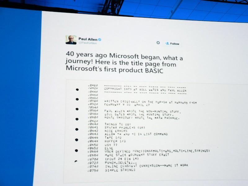 最初はMicrosoftの共同創業者 Paul Alen氏のツイートが紹介された。同社最初の製品であるBASICインタプリタのソースタイトルページだ