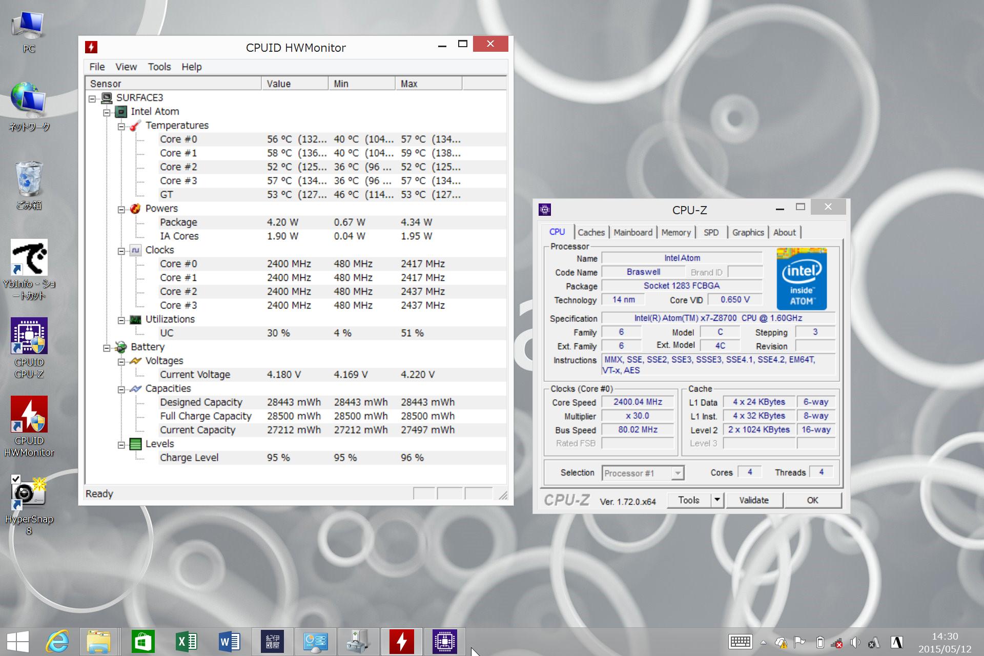 CPU-ZとCPUID HWMonitorの表示。バッテリの容量は28Wh