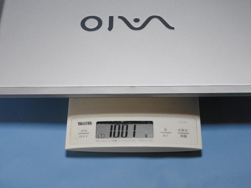試用機の重量は実測で1,001gであった