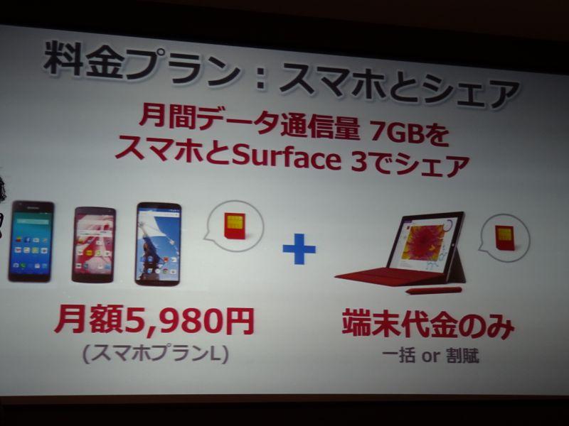 シェアプラン(スマホプランLの場合)を利用すると、Surface 3側は端末代金のみでLTEの利用も可能
