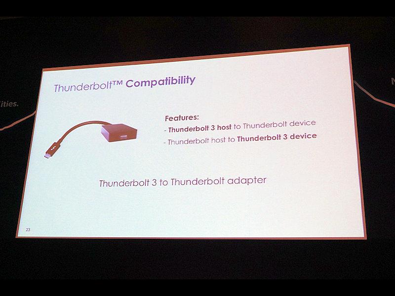 Thunderbolt 3から従来のThunderbolt 1/2に変換するアダプタも提供予定。Thunderbolt 3に対応したPCでThunderbolt 1/2に対応した周辺機器を利用したり、その逆にThunderbolt 1/2に対応したPCからThunderbolt 3に対応した周辺機器を活用できる