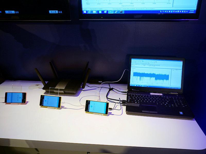 現行製品でのMU-MIMOのデモ、MU-MIMOをうまく使えると、部屋の中にある全てのデバイスそれぞれがより高速に通信できるようになる。