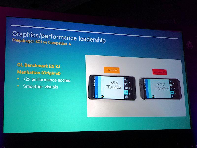 アプリケーションプロセッサでの競合A(MediaTek)との比較。ベンチマークでは2倍の性能とアピールした。