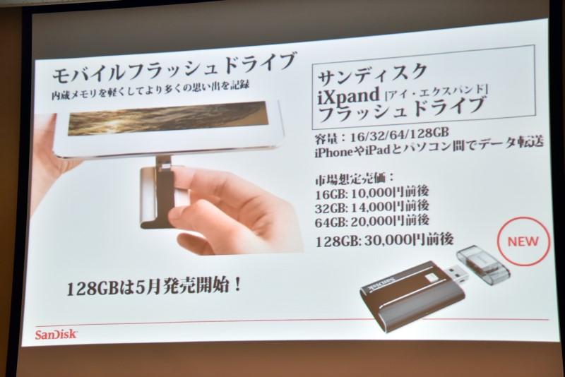 「iXpand フラッシュドライブ」。USB 2.0コネクタとLightningコネクタを装備。Appleのモバイル機器用のストレージデバイスだ