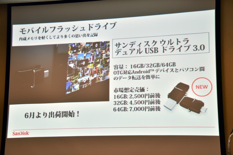 「ウルトラ デュアル USB ドライブ 3.0」。本体側面の切り替えバーで、使用するコネクタを露出させる仕組み