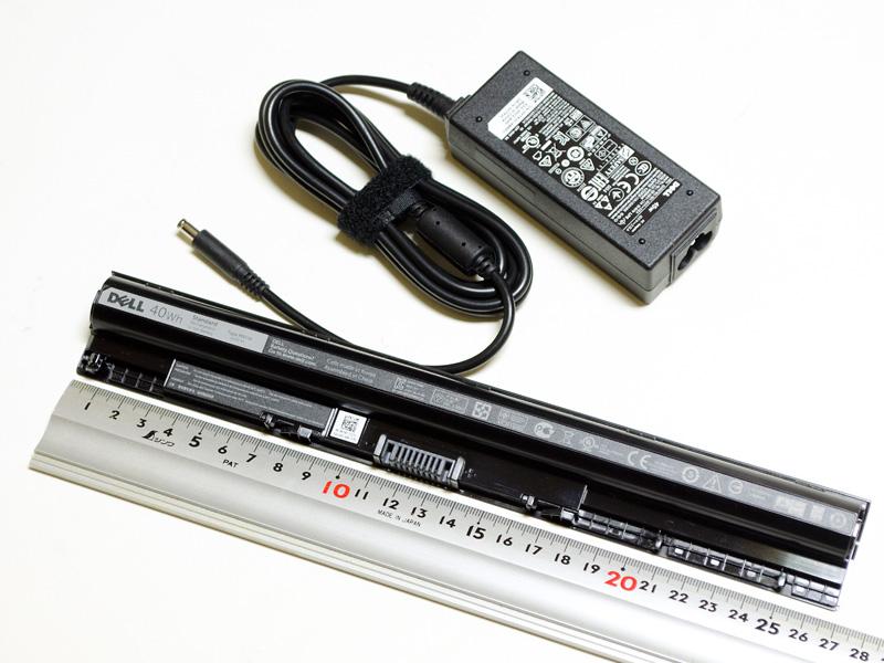 付属のACアダプタとバッテリ。TDP 15Wなので、ACアダプタは、約90×40×25mm(同)/168gとコンパクト