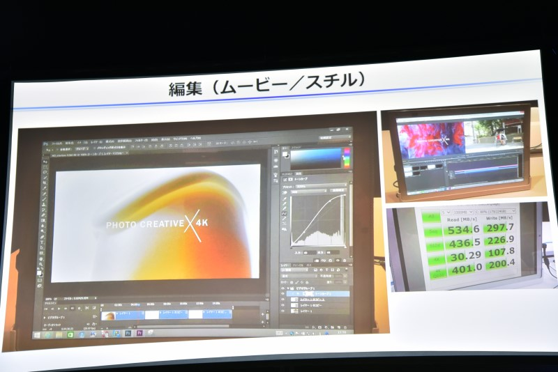 右下はCrystalDiskMarkのスコア。ストレージが高速なため、画像のサムネール表示も速かったとのこと