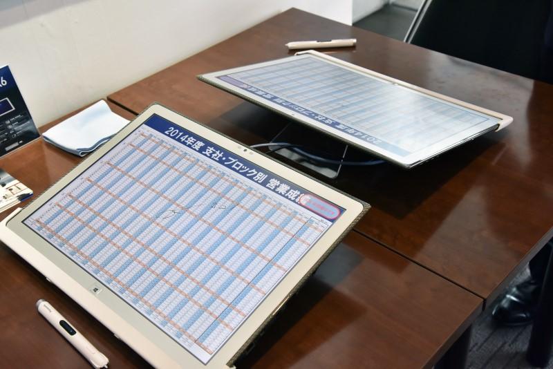 打ち合わせや会議での利用を想定。上位モデルは電子タッチペンを使用できる