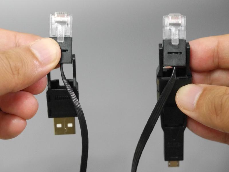 LANケーブルとして使う場合のコネクタ。左右ともにRJ45