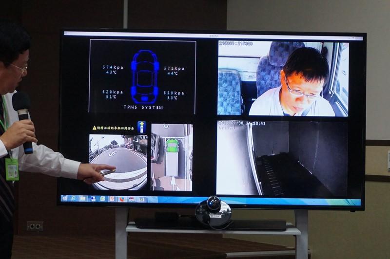 MobiletronのIoVのデモ。実際に走っているトラックにインターネット経由で接続して、トラックに装着されているカメラやセンサーをリアルタイムに把握できる。面白いのは360度ビューで、4つのカメラからの映像をリアルタイムに合成して生成されている
