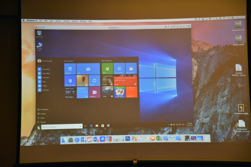 「Parallels Desktop 11 for Mac」上でWindows 10を動作させている様子