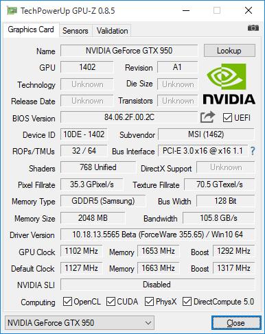 「Gamingモード」の画面。ベースクロック1,102MHz、ブーストクロック1,292MHz