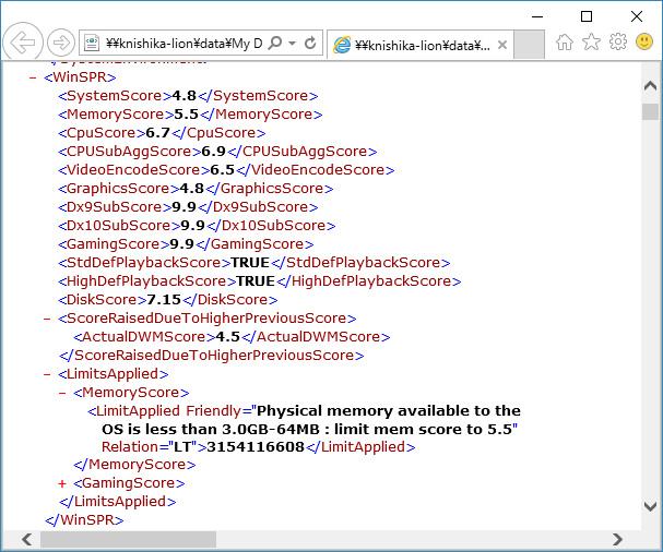 """winsat formalコマンドの実行結果<br class="""""""">総合 4.8。プロセッサ6.7、メモリ5.5、グラフィックス4.8、ゲーム用グラフィックス n/a、プライマリハードディスク 7.15"""