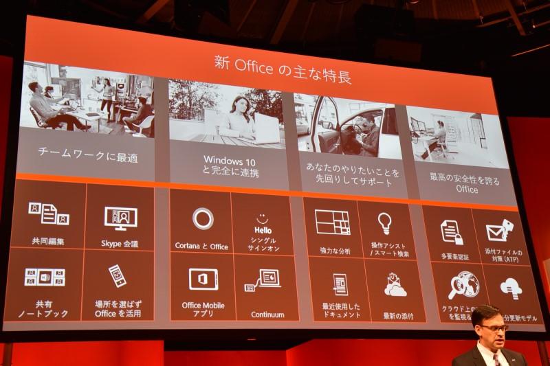 新しいOfficeの特徴として、チームワークに最適、Windows 10との連携、ユーザーの先回りサポート、セキュリティの高さを挙げる