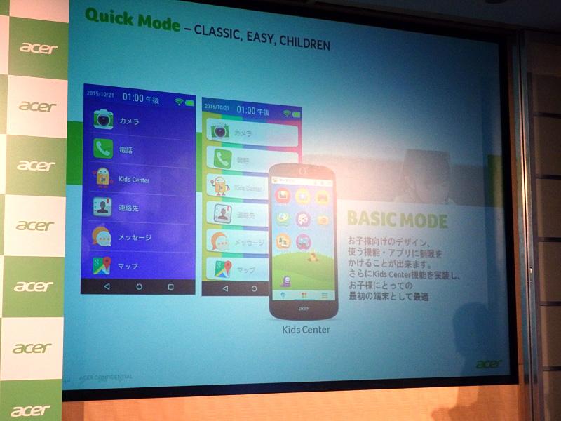 子供向けの「Basic Mode」。表示するアイコンを選択し、機能を限定できる
