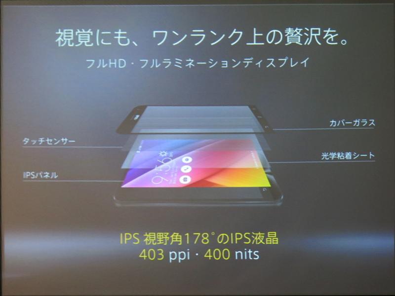 フルラミネーションディスプレイを採用。画素密度は403ppi、輝度は400cd/平方m