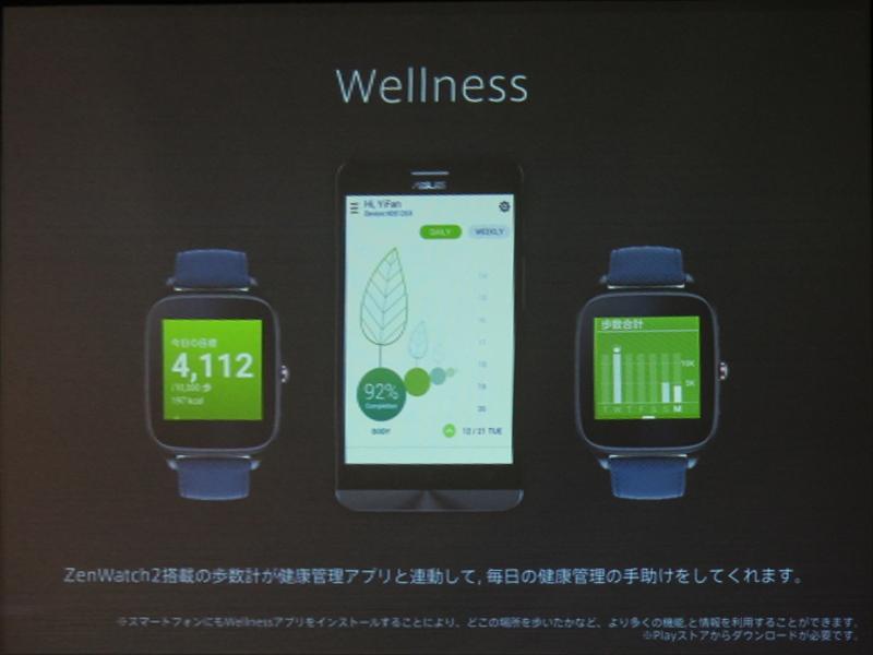 歩数計機能と健康管理アプリと連動できるWellness