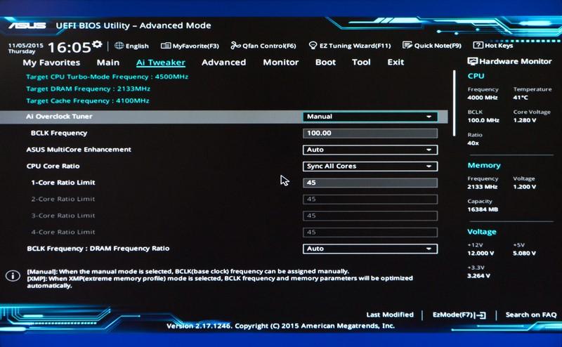 BIOS画面。Core i7-6700Kは標準では400MHz×10倍だが、今回45倍の4,500MHzにオーバークロックした。