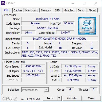 CPU-Zでは4,501.08MHz