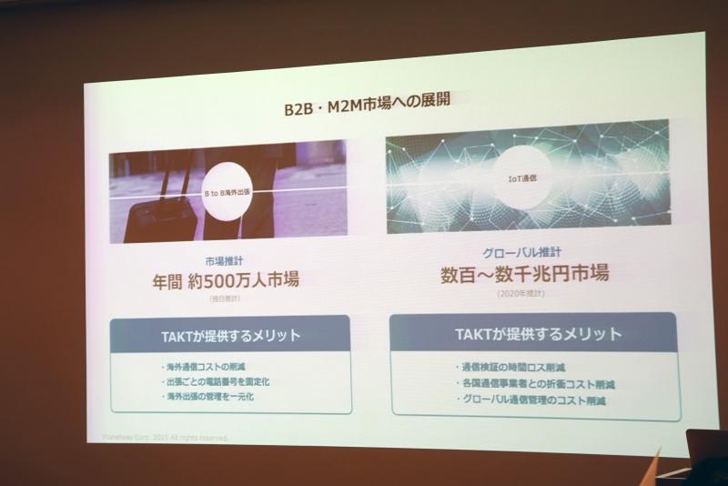 TAKTのB2BおよびM2M市場への展開も図る