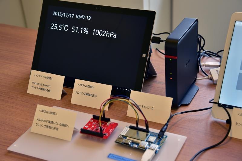 NTTデータのIoTデバイスのプラットフォーム基盤。湿度/温度/気圧を表示するセンシングデバイスと接続