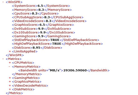 winsat formalコマンドの実行結果。総合 6.5。プロセッサ 8.3、メモリ 8.3、グラフィックス 6.5、ゲーム用グラフィックス n/a、プライマリハードディスク 8.95