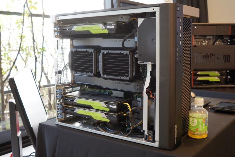 Dell Precision 7910。Quadro M6000を3基、Xeon E5-2687Wを2基搭載。メモリは128GB
