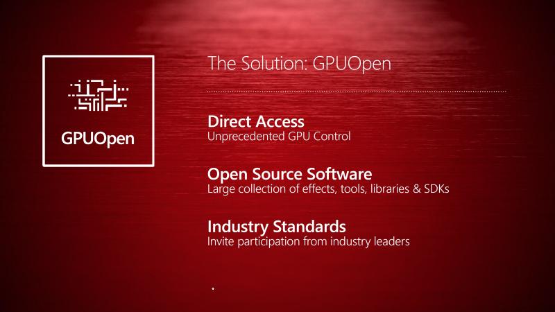 GPUOpenにより、開発者はAMDが提供するオープンソースコンポーネントを用い、より直接的なGPU制御が可能となる