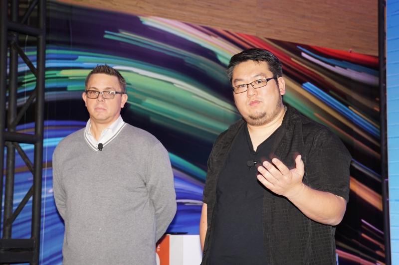 Lenovo副社長 ジェフ・メルディッチ氏(左)、Google Project Tango主任のジョニー・リー氏(右)