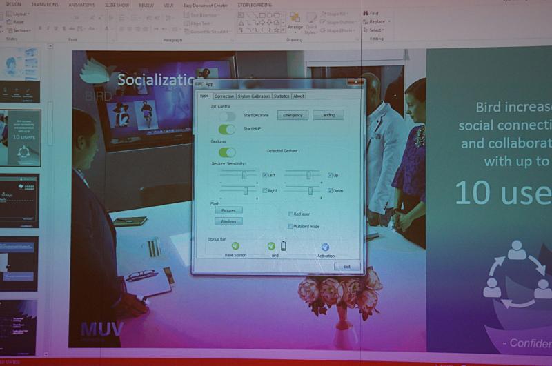 Windows上のコントロールソフトウェア、このソフトウェアによりPCを制御することが可能になっている