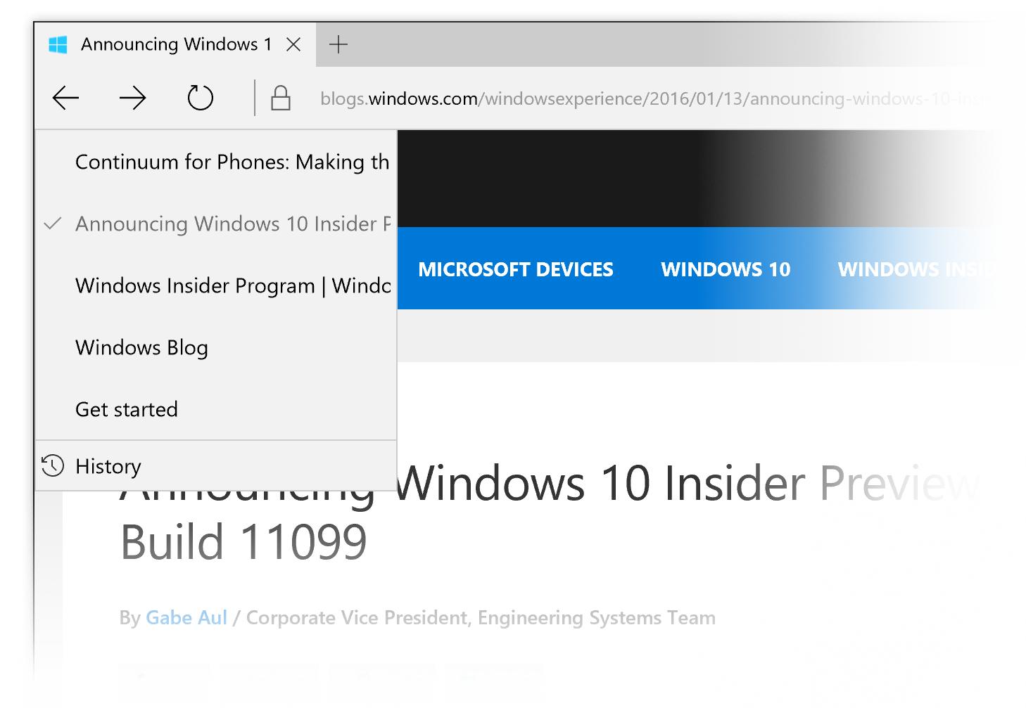 Build 11102ではEdgeで訪問したWebサイトの履歴を簡単にたどれるメニューが追加された