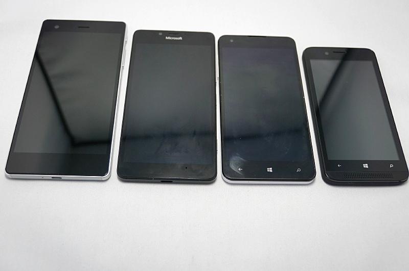 左からVAIO Phone Biz、Microsoft Lumia 950、マウスコンピューター MADOSMA、FREETEL KATANA 01
