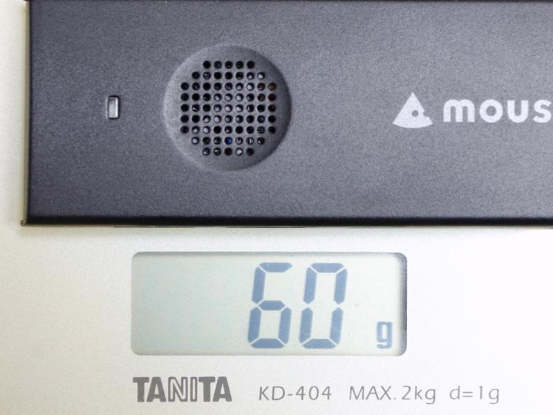 重量は実測で60g。仕様より気持ち軽い