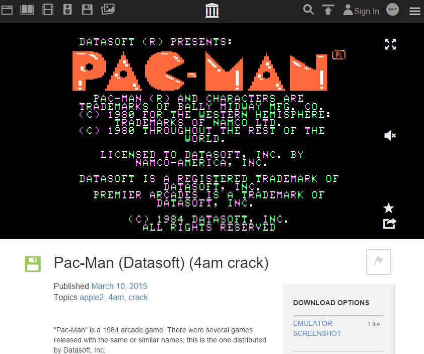 The Internet Archiveに保存されているApple IIのパックマンのゲーム