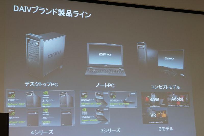 DAIVのラインナップ。コンセプトモデルとして、RAW、Adobe、VR用を用意する