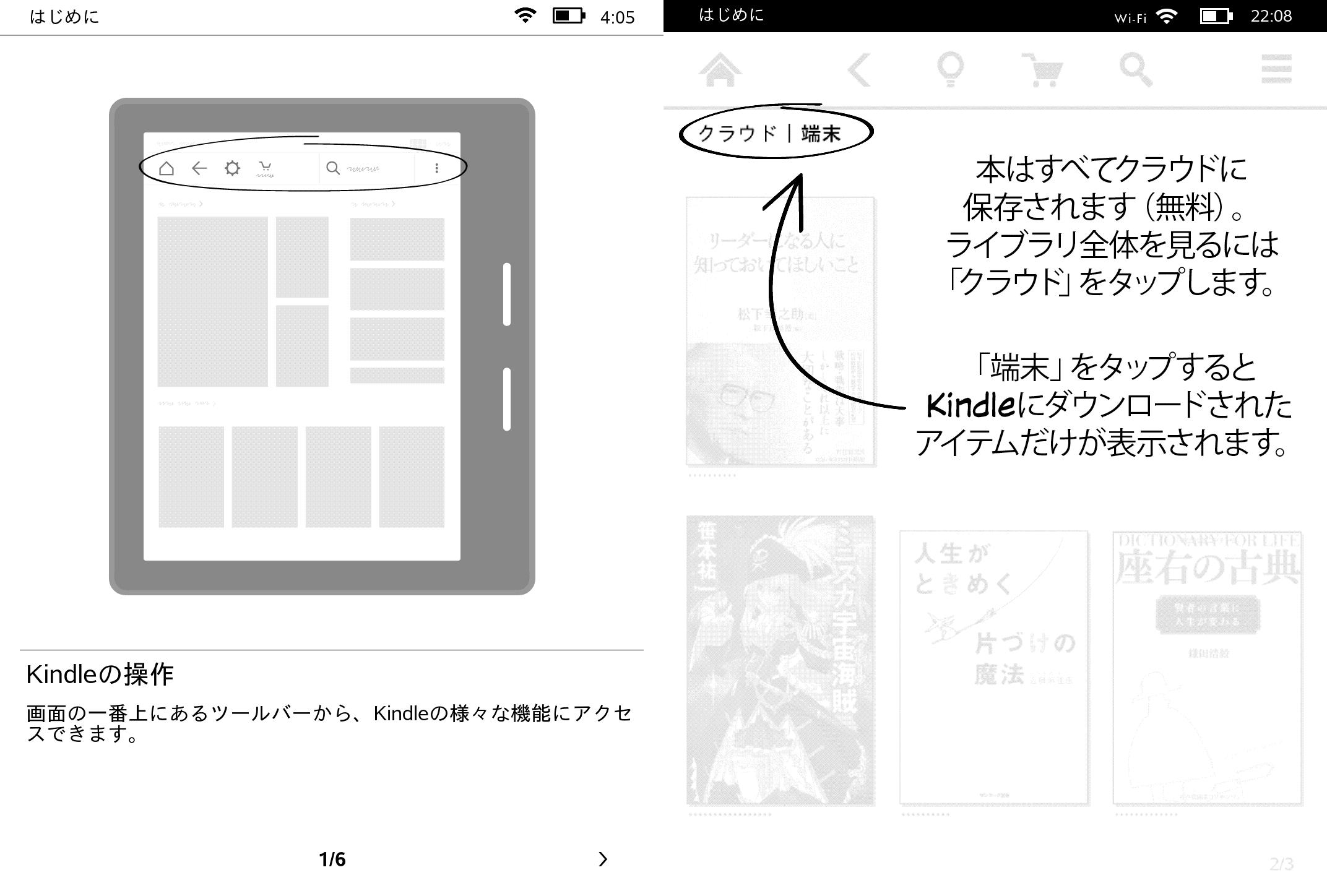 操作方法を案内するチュートリアル画面。従来は十数ページ近く存在していたのが6ページに簡略化された