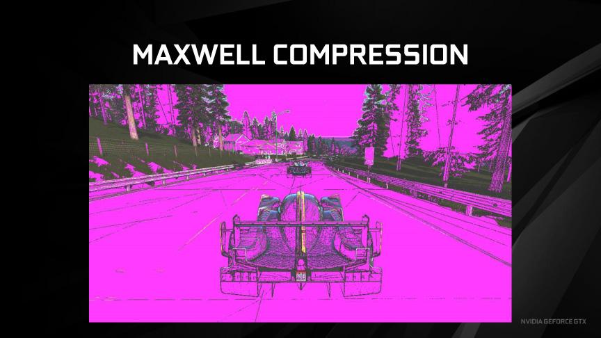 Maxwellのロスレス圧縮。紫の部分がカラー圧縮できている部分