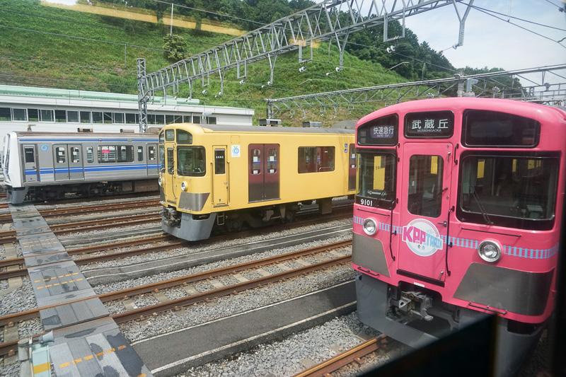 武蔵丘車両検修場に近づくと車両がたくさん止まっている。特別電車「SEIBU KPP TRAIN」も停車中