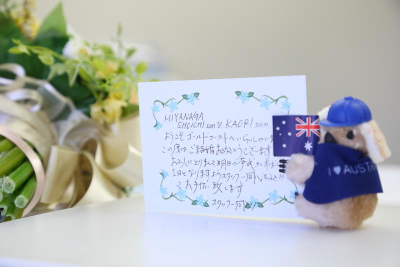 メッセージカードを持って2人を出迎えたコアラ。最後まで2人の式を見届けることになる