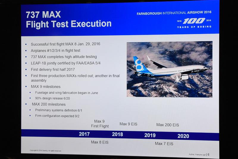 ボーイング 737 MAXシリーズの開発進捗