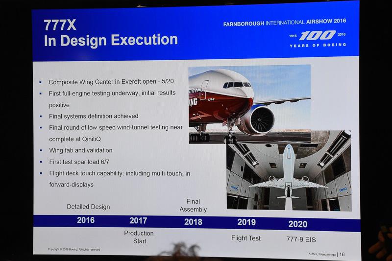 ボーイング 777X型機の開発進捗