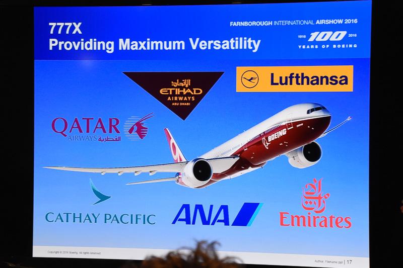 ボーイング 777X型機を発注している航空会社